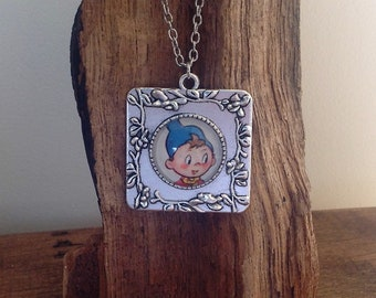 Noddy, Square Pendant featuring vintage 1960's illustration from Noddy and the Tootles