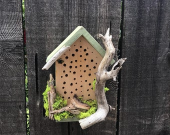 Rustic Mason Bee House With Natural Driftwood Bee's Cozy Hotel For Bees To Pollinate Flowering Garden Bug Insect Houses Item #613902601