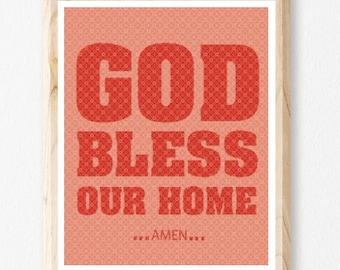 God Bless Our Home, House Warming Gift, God Inspired, Family, Religious Gift, Bible Art, Christian Wall Art, Digital Art, House,Jesus, Faith