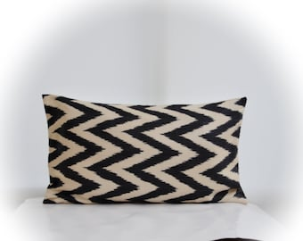 Silk Ikat Lumbar Pillow Cover,Geometric Lumbar Pillow,Black Ikat Pillow,Zigzag Pillow,Black Zigzag Pillow,Black Ikat Lumbar,Geometric Lumbar