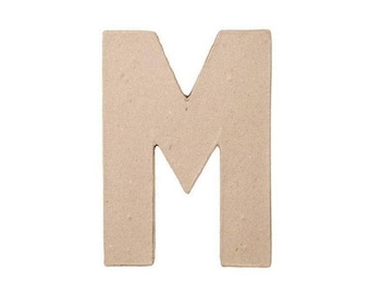 8 INCH Paper Mache Letter M - Cardboard Letters - Craft Supplies