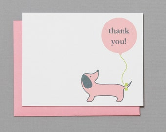 Pink Dog with Balloon Baby Shower (Thank You) A2 Flat Note Cards (Set of 10)
