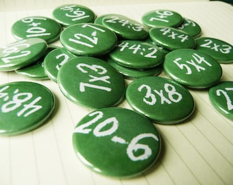 """Learning to count, math exercises with 24 pieces of 1 inch (diameter) Ø 1"""" pinback buttons, 25mm badges"""