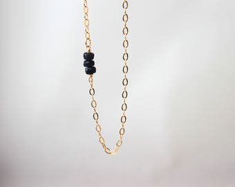 Delicate Sapphires With Gold Long Chain Necklace