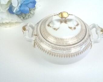 Antique, Haviland and Co., Limoges, France, Wedding Table, Vintage SUGAR BOWL Gold-on-White, T.&V.