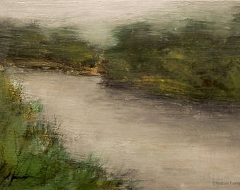 Abstract painting landscape, original acrylic tonalist landscape, Fishing pond VII  atmospheric, wall art, 5x7 inches