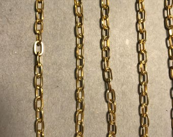 9 ft Gold Plated Cable chain footage 4mm with knurled