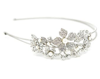 Silver Wedding Crystal pearl flowers Headband hair piece for party #9