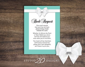 Instant Download Aqua Book Request, Blue and Classic White Bow Book in Lieu of Card, Teal Baby Shower Book Instead of Card 53A