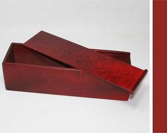 Wooden Box with a Slide Lid - 3.54x3.54x13.78 inches - Red Box - Keepsake Box - Storage Box - Wine Gift Box