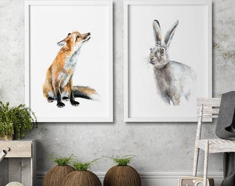 Nursery wall art Set of 2 art prints Fox and rabbit Watercolor painting Animal illustration children room kids home decor nursery home decor