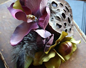 Woodland Orchid Hair Clip Fascinator - ATS, Tribal Belly Dance, Hair Garden, Lotus Seed Pod, Orchid, Mauve, Olive Green, Fairy