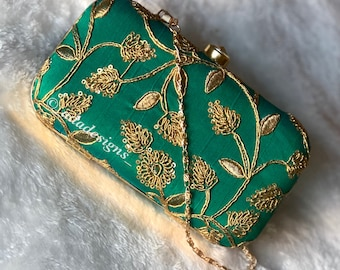 Green Clutch with Gold Work