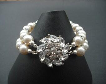 Emma Collection, Bridal Bracelet, Rhinestone Crystal Bracelet, Vintage Style Bridal Jewelry, Weddng Jewelry
