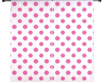 Chiffon Curtains - Fuchsia Curtains -Teen Curtains - Bedroom Curtains - Sheer Curtains - Polka Dots - Girls Curtains - Teen Room Decor -Pink