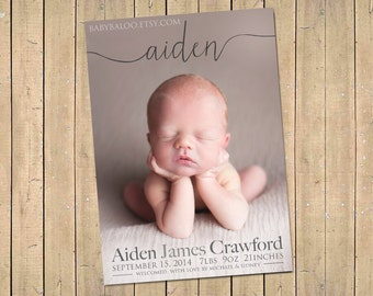 NAME BIRTH ANNOUNCEMENT - Photo Baby Announcement - Baby Girl Announcement - Baby Boy announcement - Newborn, Modern, Printable, Digital -