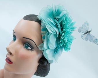 "Teal Fascinator with Vintage Silk Flower Petals and Light Blue Butterfly! The ""Stephanie"""