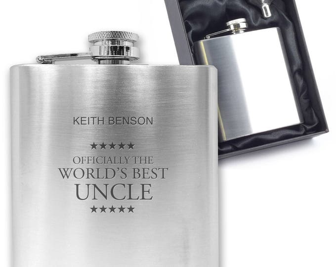 Personalised engraved Officially the best UNCLE hip flask gift idea, stainless steel presentation box - OFF3