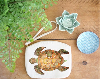 Turtle Canvas Zip Bag, Makeup Bag, Coin Purse, Small Accessory Pouch, Stocking Filler, Turtle Gift