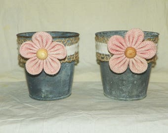 Metal Flower Pot, a Burlap Flower, Ribbon and Just add Flowers to this 4 1/2 Inch Grey Galvanized Metal Bucket with Pink Burlap Daisy