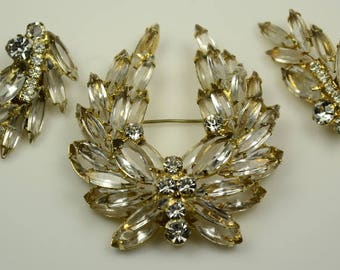 Layered Crystal and Rhinestone Pin and Earrings Set
