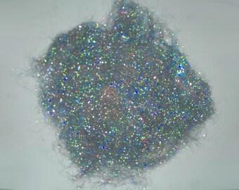 Silver Holographic- Angelina fiber - 1/2oz - rainbow hologram - spinning felting fiber fibre art batts paper making silk fusion crafts