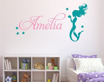 Personalized Name Wall Decal   Mermaid Wall Decal   Girls Nursery Wall Decal  Decor   Mermaid Under The Sea Vinyl Wall Art