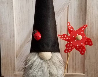 Scandinavian Gnome Tomte Nisse Swedish Summer Red Ladybugs Pinwheel