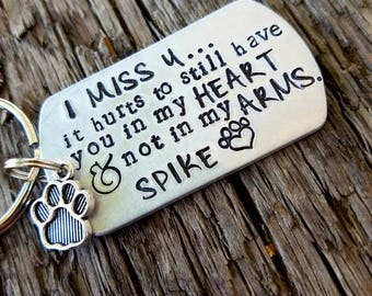 Personalized hand stamped dog memorial keychain. Pet memorial gift. Loss of dog. Dog memorial keychain. Loss of pet gift. Sympathy gift