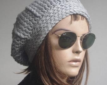 chemo hats  gray ACRYLIC womens hat Winter gray Hat Knit Hat Winter hat Slouchy Hat  winter Accessories Woman hat crochet hat