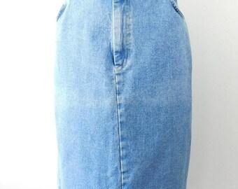 30% SUMMER SALE Vintage 90s St. Johns Bay Light Blue Jean High Waisted Maxi Length Minimal Long Denim Pencil Skirt Bottom Sz 14 Large