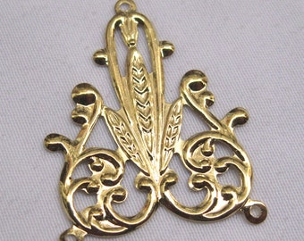 10pcs Golden Filigree Stamping Raw Brass Findings for Jewelry Design & Repair bf048
