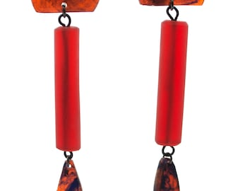 Contemporary Handmade Red with Blue Swirls Cylinder DangleResin Earrings