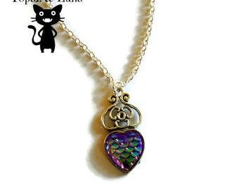Mermaid heart necklace, dragon scale necklace, pendant
