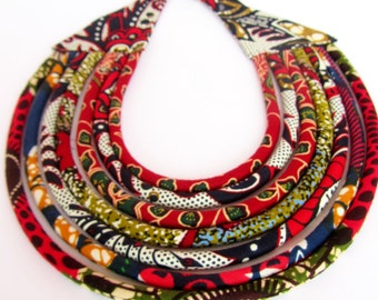 African Tribal Necklace, Black Red Statement necklace / fabric necklace, Ethnic Red Jewelry
