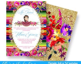 Quinceañera Mexican Fiesta Invitation,Mexican Quince Invite, Quinceañera Invite, Fiesta Quince Invite, Sweet Fifteen, -0054