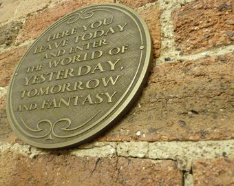 Disney Walt Disney World Magic Kingdom entranceway plaque