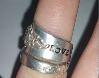 Love you mom/ silver plated spoon ring/mothers day gift/ mothers ring