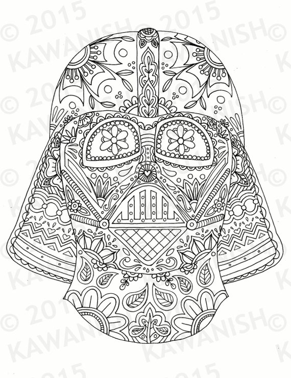 day of the dead darth vader mask adult coloring page gift wall art star wars - Darth Vader Coloring Pages