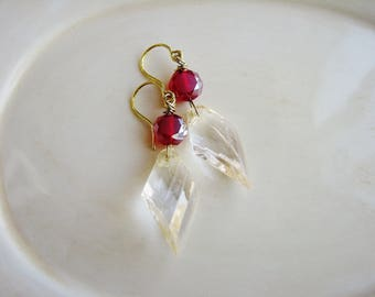 Red Glass Earrings, Boho Earrings, Long Dangle Earrings, Bohemian Earrings, Red Jewelry, Earrings