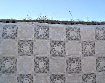 "Rose Lace Squares Vintage White Large Tablecloth 102"" x 70"""