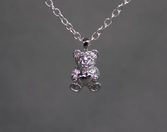 Teddy Bear Charm Necklace in Sterling Silver , Teddy Bear Necklace , New Baby Necklace , bear charm necklace , stuffed animal necklace