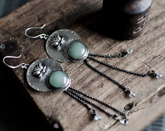 Aventurine Earrings   Sterling Silver Earrings   Lotus Flower Earrings   Women's Jewelry   Unique Earrings   Flower Earrings   Handmade