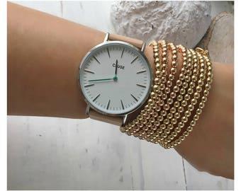gold bead bracelet • gold beaded bracelets • gold beaded bangles • gold beaded stackable • 4mm beads set of 8 gold filled bracelet • B027