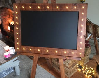 Wooden Ornate Chalkboard in Walnut/Oak colour with stand - look at those flashing lights!!