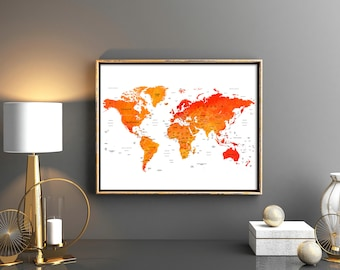 World map grey world map with countries printable watercolor world map wall art world map download world map printable with countries names and boarders map of the world weltkarte watercolor world map gumiabroncs Images