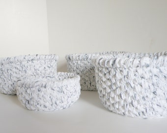 Bathroom Storage Baskets, White w Black Cotton Bath or Nursery Storage Bins, Crocheted Yarn Bowl, Makeup Storage, Paper Holder