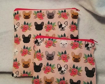 Frenchie Dog Eco-friendly reusable snack pouch and sandwich bag