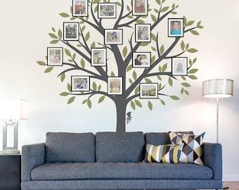 Family Tree Wall Decal - Tree Wall Sticker, Nature Wall Decal, Living Room Art, Family Photo Art, Family Tree Art