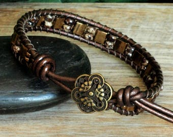 Dark Bronze and Metallic Brown Tila and Seed Bead Leather Bracelet, Bohemian Stacking Jewelry